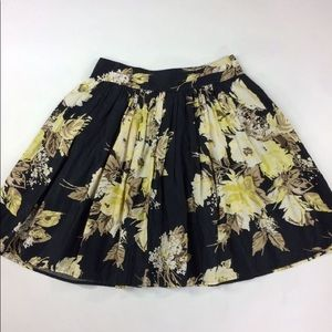 Loft Black and Yellow Floral A Line Skirt sz 00P